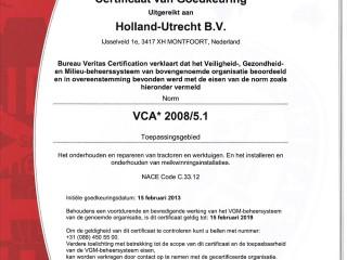 VCA Certificaat Holland-Utrecht BV